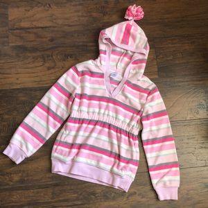 Gymboree Med 7/8 Pink & Gray stripe Fleece Hoodie